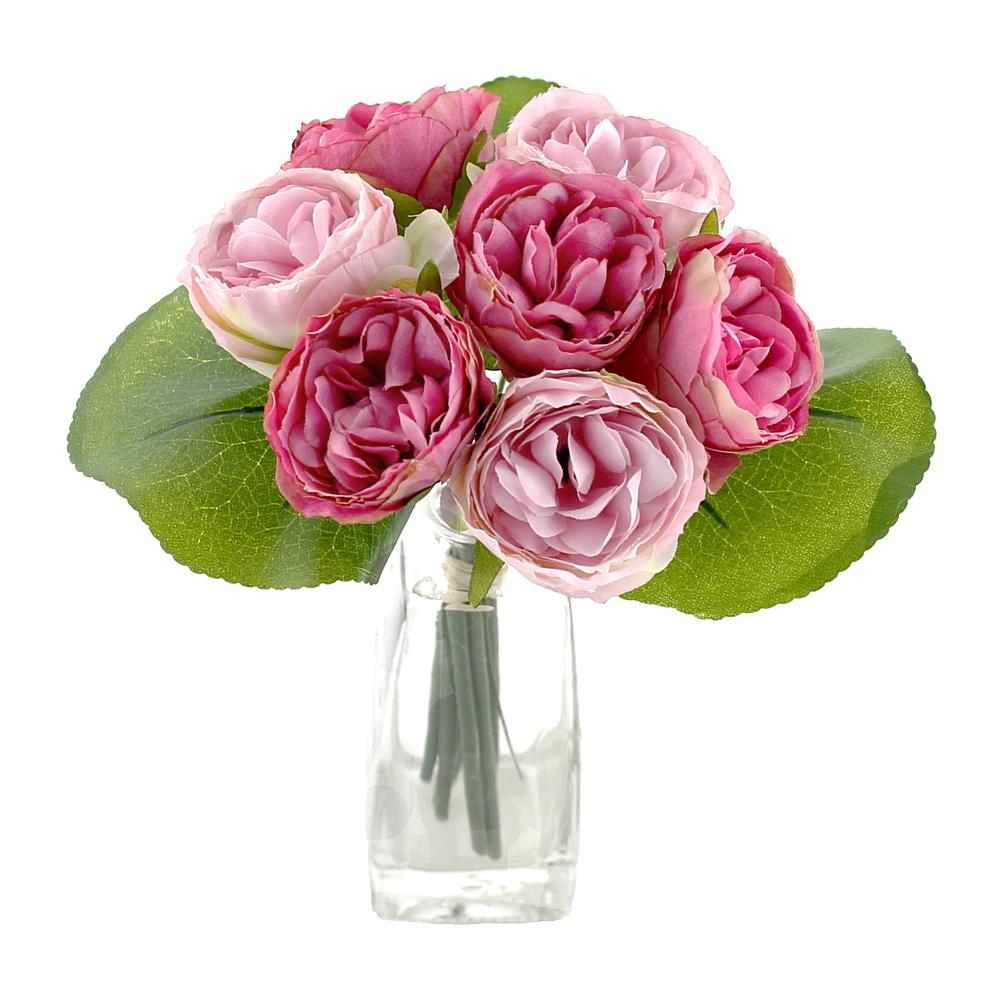 Peony, Pfingstrosen Strauß mit 7 Blüten 3 Blätter künstlich/ pink/rosa