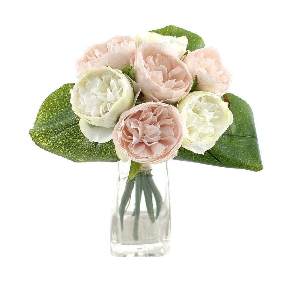 Peony, Pfingstrosen Strauß mit 7 Blüten 3 Blätter /// creme/aprico