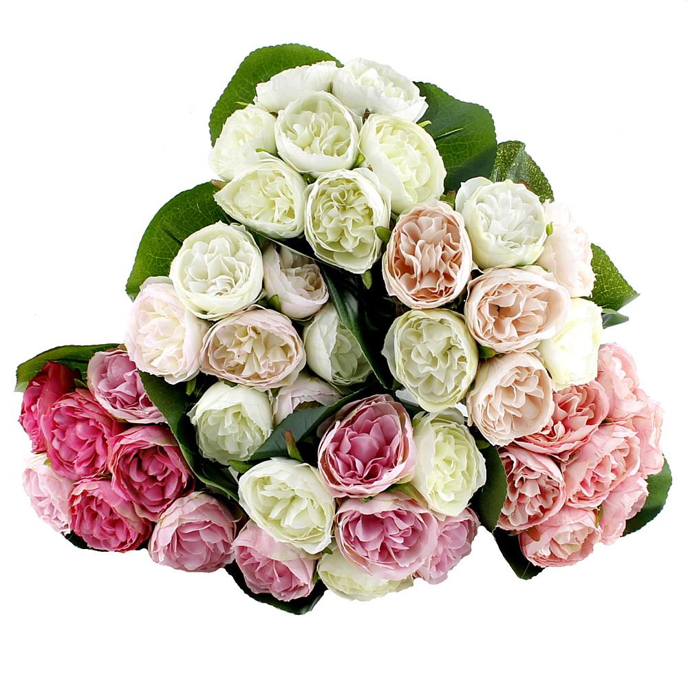 Pfingstrosen 116cm weiß Seidenblumen Kunstblumen 15 Blüten Blumenstrauß