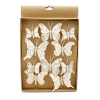 10 Stück Schmetterlinge MIX mit Clip 2 Größen, creme m Goldglitter 800