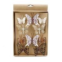 10 Stück Schmetterlinge MIX mit Clip 2 Größen, bunt mit Glitter 801 !!