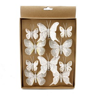 10 St. Schmetterlinge MIX m. Clip 2 Gr. champagner m Silberglitter 805