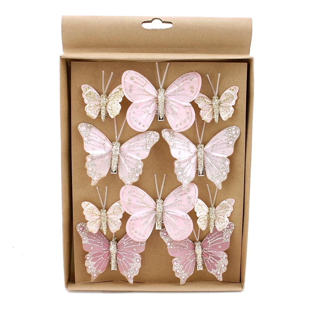 10 Stück Schmetterlinge MIX mit Clip 2 Größen, rosa mit Glitter 806