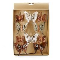 10 St. Schmetterlinge MIX mit Clip 2 Größen braun/bunt mit Glitter 807