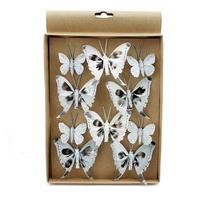 10 St. Schmetterlinge MIX mit Clip 2 Größen grau mit Silberglitter 808