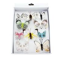 10 Stück Schmetterlinge MIX mit Clip 2 Größen Sortiment pastell, Feder