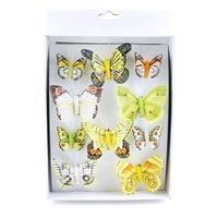 10 Stück Schmetterlinge MIX mit Clip, 2 Größen Sortiment bunt, Feder !