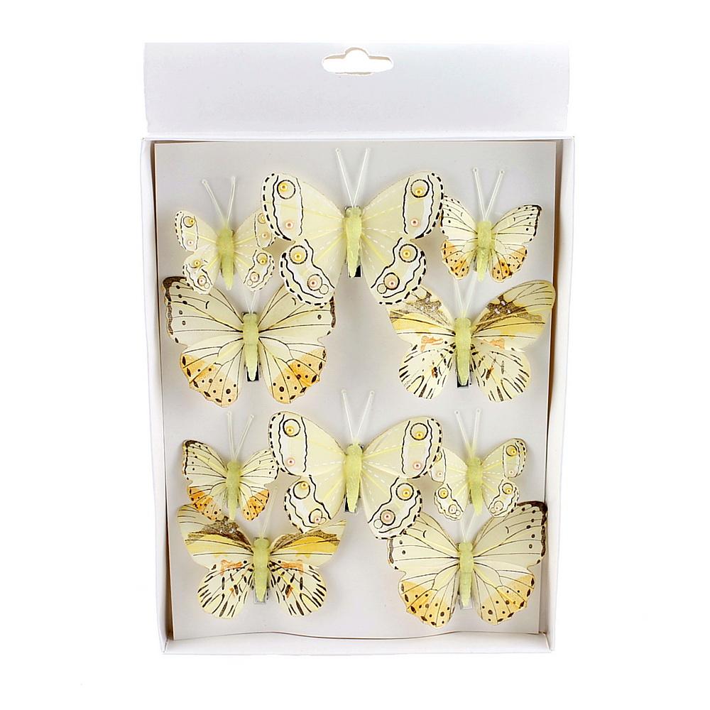 10 St. Schmetterlinge MIX mit Clip 2 Größen Sortiment / 040 zartgelb