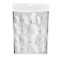10 St. Schmetterlinge MIX mit Clip 2 Größen Sortiment / 043 weiß
