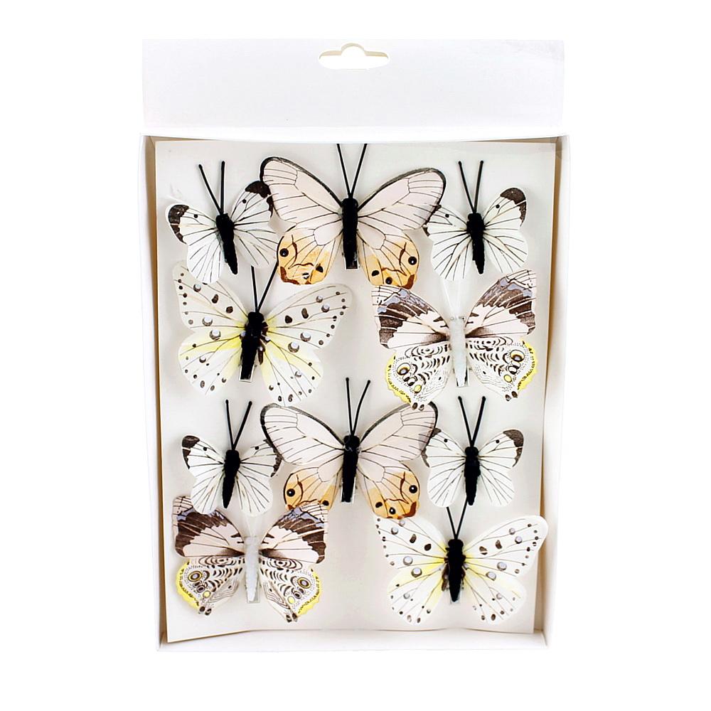10 St. Schmetterlinge MIX mit Clip 2 Größen Sortiment / 044 pastell