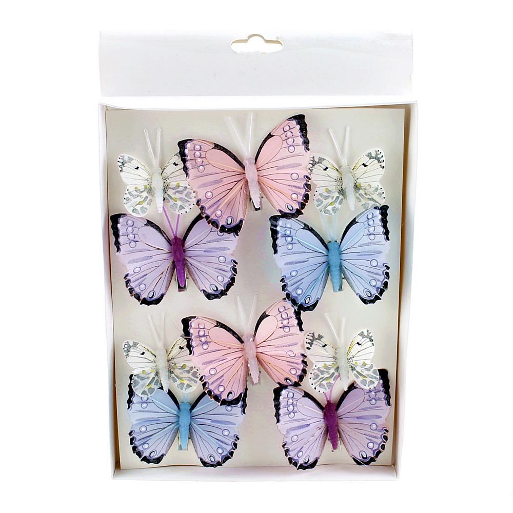 10 St. Schmetterlinge MIX mit Clip 2 Größen Sortiment / 045 blau-rosa