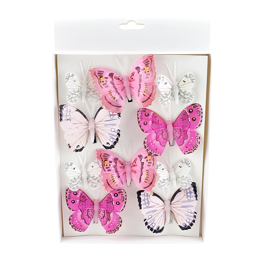 10 St. Schmetterlinge MIX mit Clip 2 Größen Sortiment / 046 pink-rosa