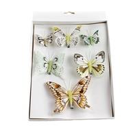 6 St. Schmetterlinge MIX mit Clip 3 Größen Sortiment / 323 natur