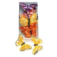 12 Stück Schmetterlinge orange/lila Sortiment mit Klebepunkt, Feder !!