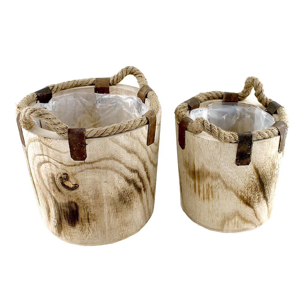 Holz Topf natur, 2er Set Ø 21cm + 16,5cm, rustikal m. Kordel u. Metall