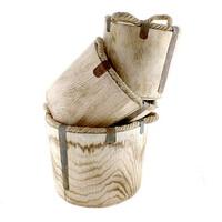 Holz Topf natur, 3er Set Ø 28cm+24cm+20cm rustikal m. Kordel u. Metall
