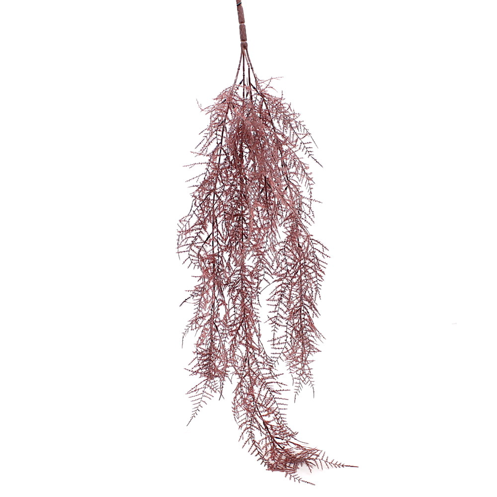 Asparagus Zweig hängend 80cm Länge/ 4 Triebe, Kunststoff / bordeaux