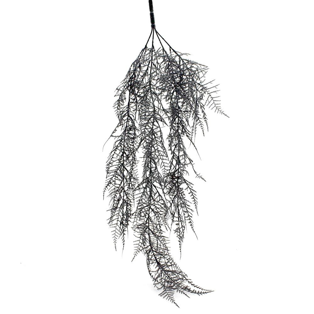 Asparagus Zweig hängend 80cm Länge/ 4 Triebe, Kunststoff / grau