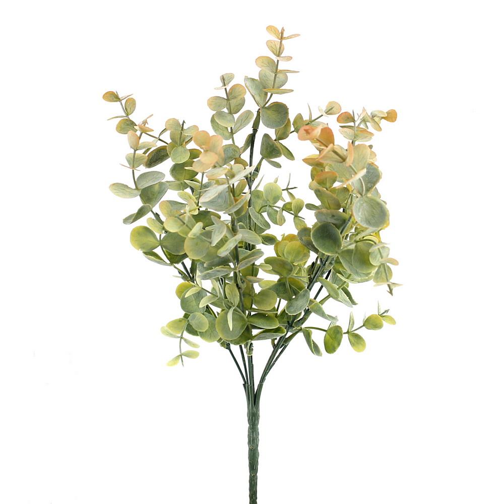 Eukalypthus Busch x7 Triebe, Kunststoff Pflanze/ grün-gelb