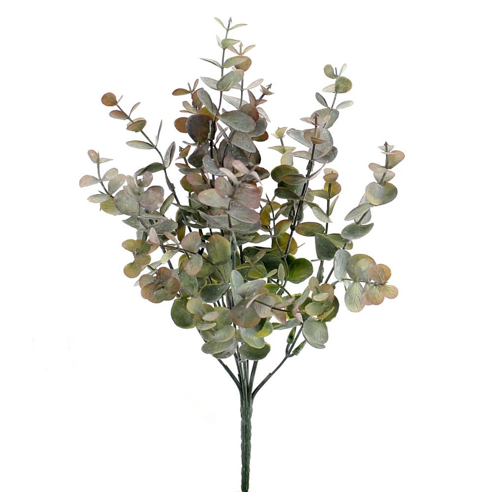 Eukalypthus Busch x7 Triebe, Kunststoff Pflanze/ grün-violett