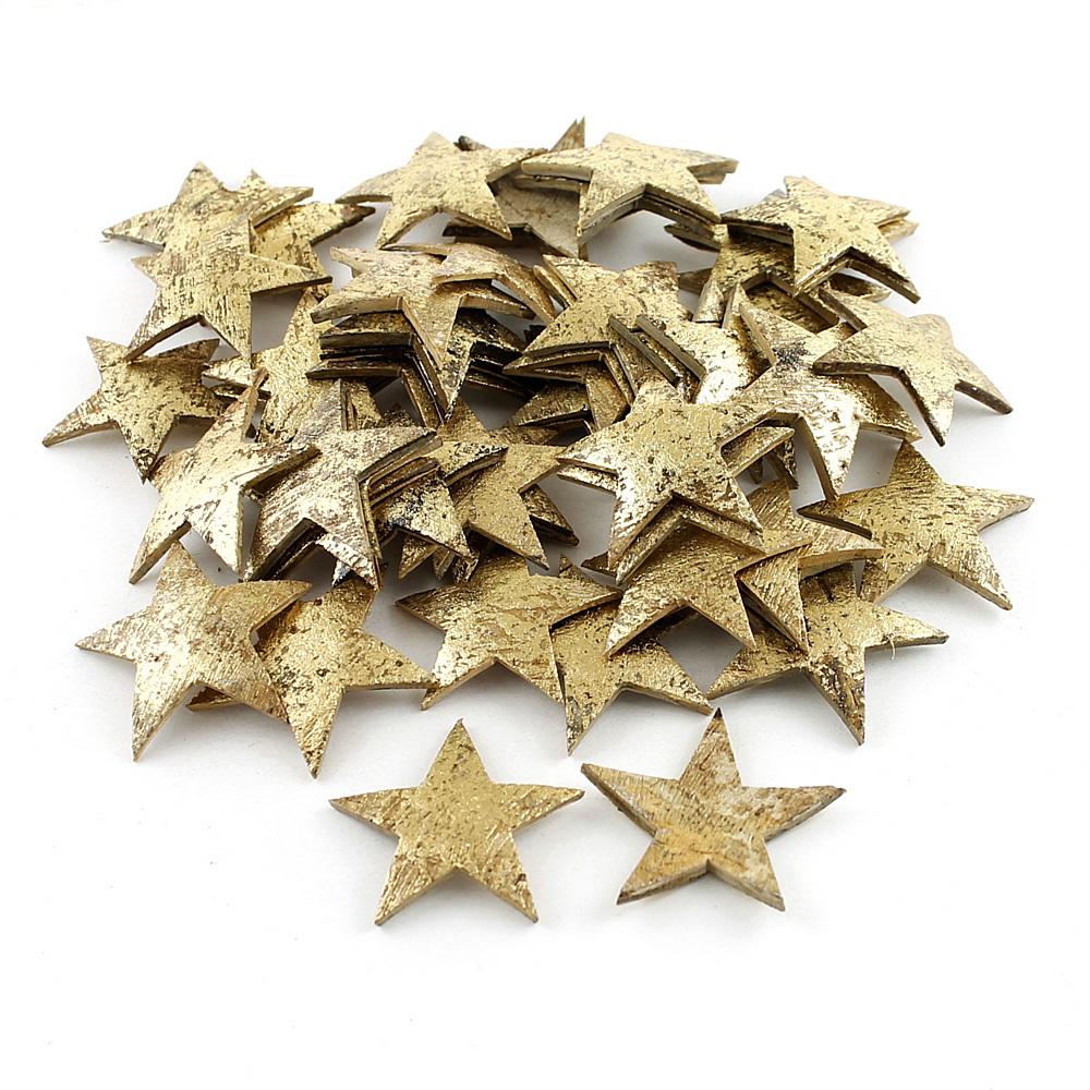 50 Sterne gold aus Hartschale Kokosnuss 5cm, Streusterne Weihnachten !