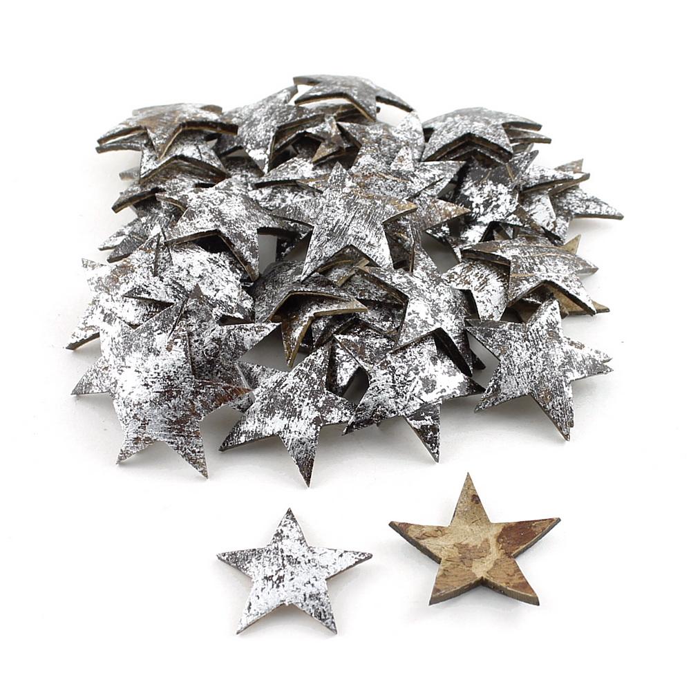 50 Sterne silber aus Hartschale Kokosnuss 5cm, Streusterne Weihnachten