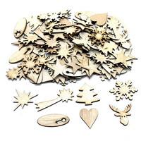 100x Holz Figuren mixed natur, Streuartikel 3cm bis 6cm d 1,5mm !!!