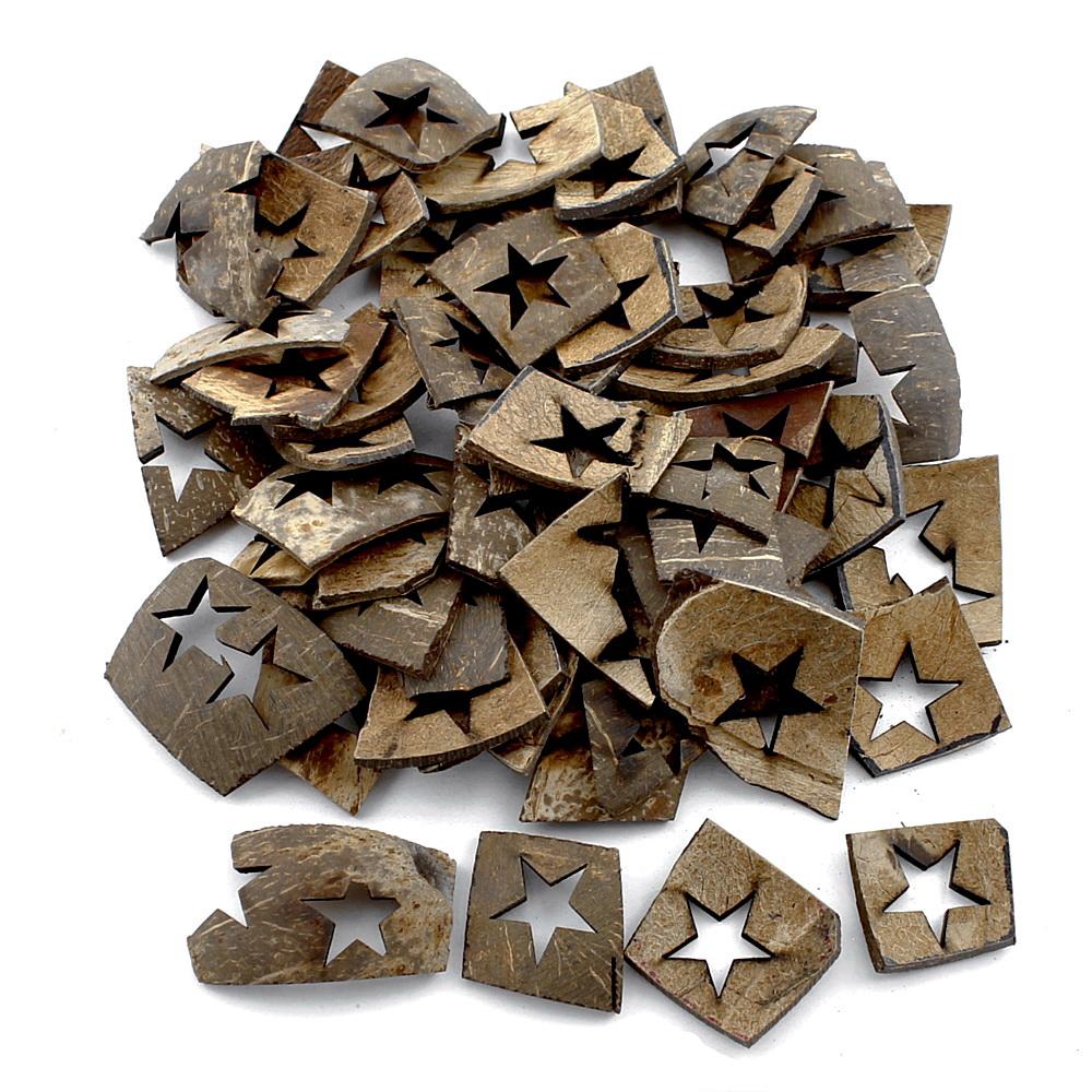 50-60 Teile Hartschale Kokosnuss natur, Sterne ausgestanzt Weihnachten