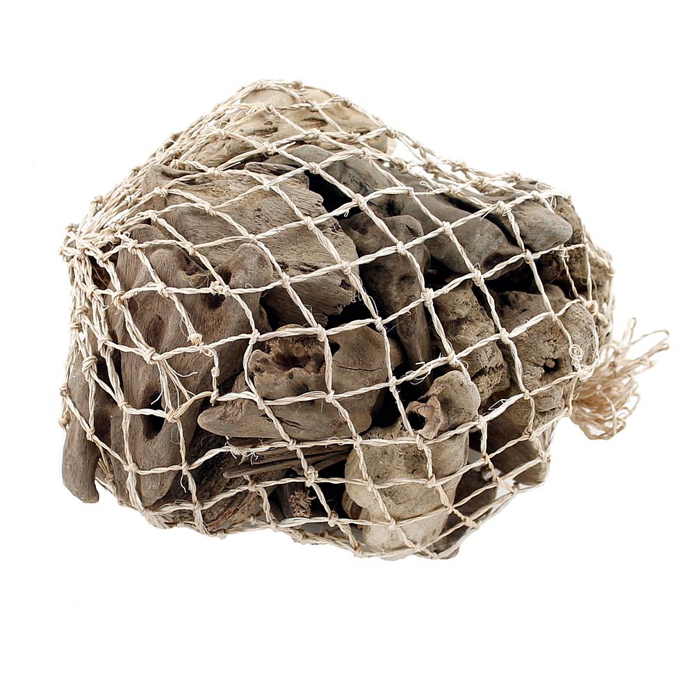 Treibholz aufgehellt Bruchstücke im Netz, natur, L4-10cm, ca. 0,5kg !!