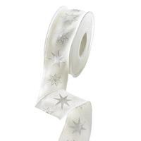 Band mit Sterne in silber, 40mm/ 20m Acetat mit Drahtkante/ wollweiß