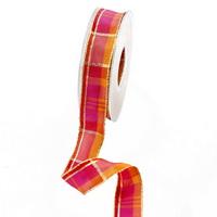 """Band kariert """"pink/orange/gold"""" beidseitig, 25mm/ 20m Draht- Goldkante"""