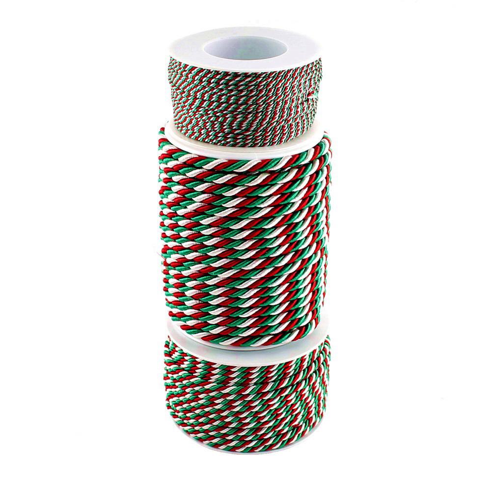 """Kordel 3-farbig, """"Italien"""" """"NRW"""" grün-weiß-rot, Profispule !!!"""