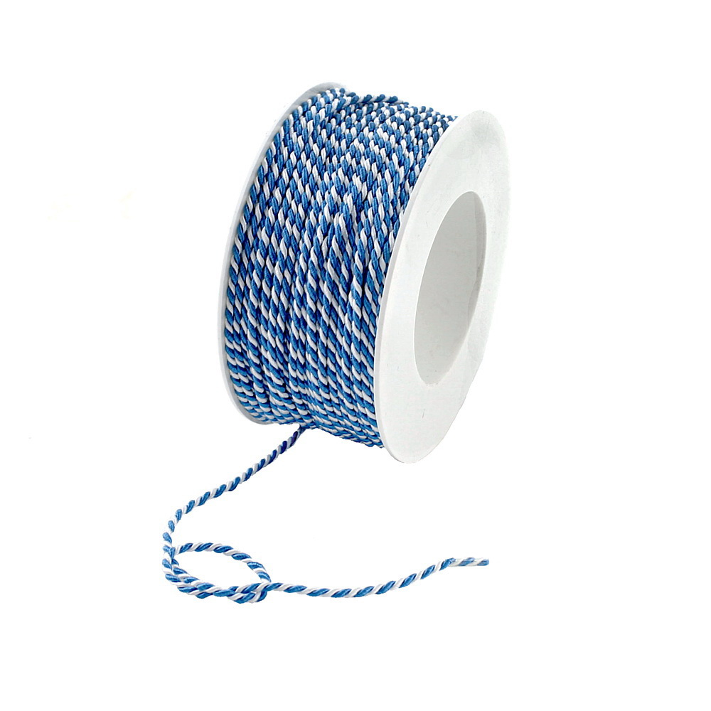 "Kordel 2-farbig gedreht ""blau/weiß"" ohne Draht/ 2mm/ 50 Meter"