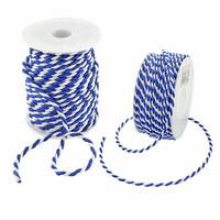 Kordel 2-farbig gedreht, dunkelblau/weiß ohne Draht, Profispule !!!