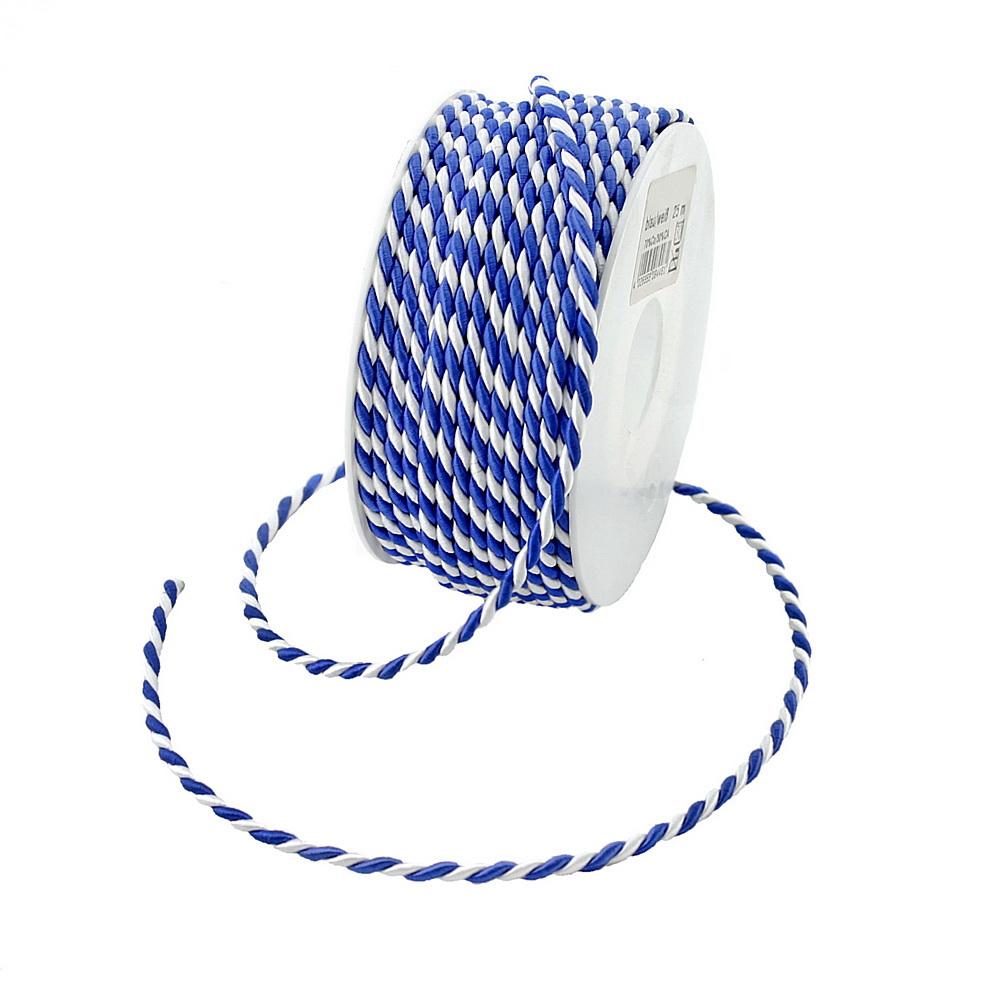 Kordel 2-farbig gedreht, dunkelblau/weiß 4mm/25 M.