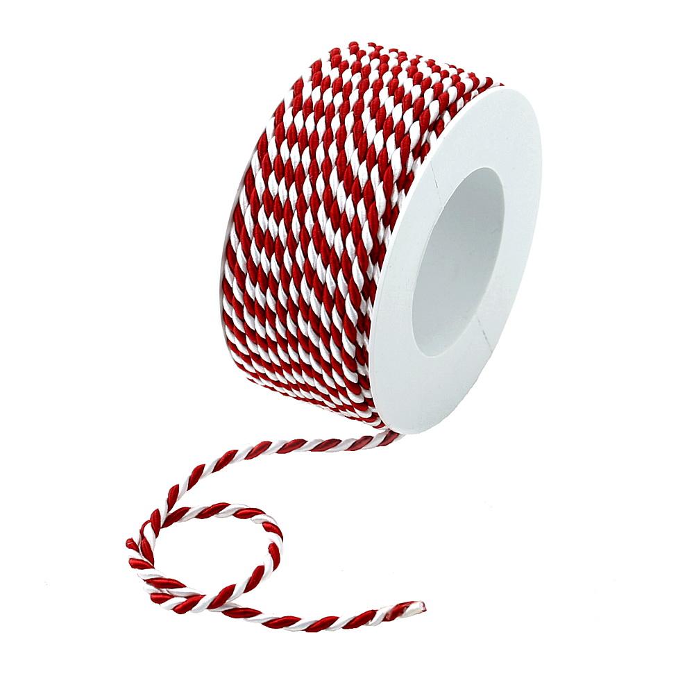 Kordel, 2-farbig gedreht, rot/weiß 4mm/ 25 Meter