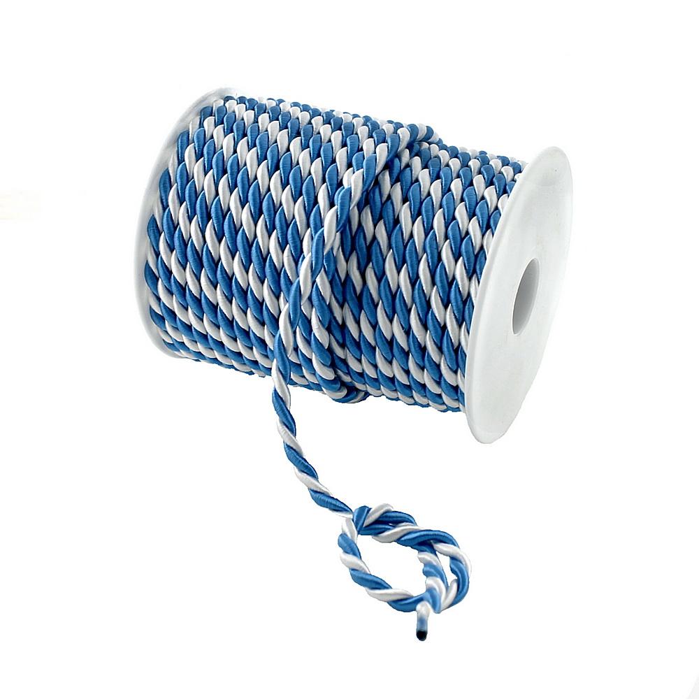 "Kordel 2-farbig gedreht ""blau/weiß"" ohne Draht/ 6mm/ 25 Meter"