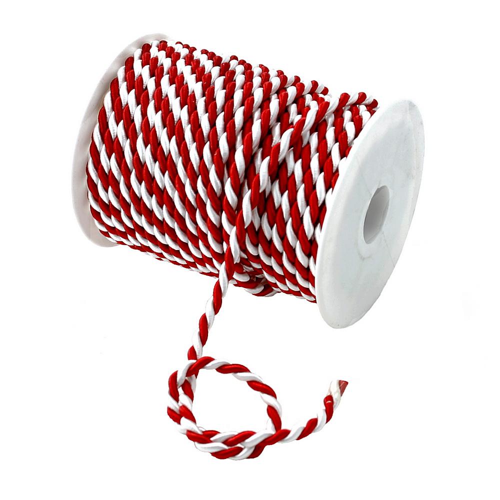 Kordel, 2-farbig gedreht, rot/weiß 6mm/ 25 Meter