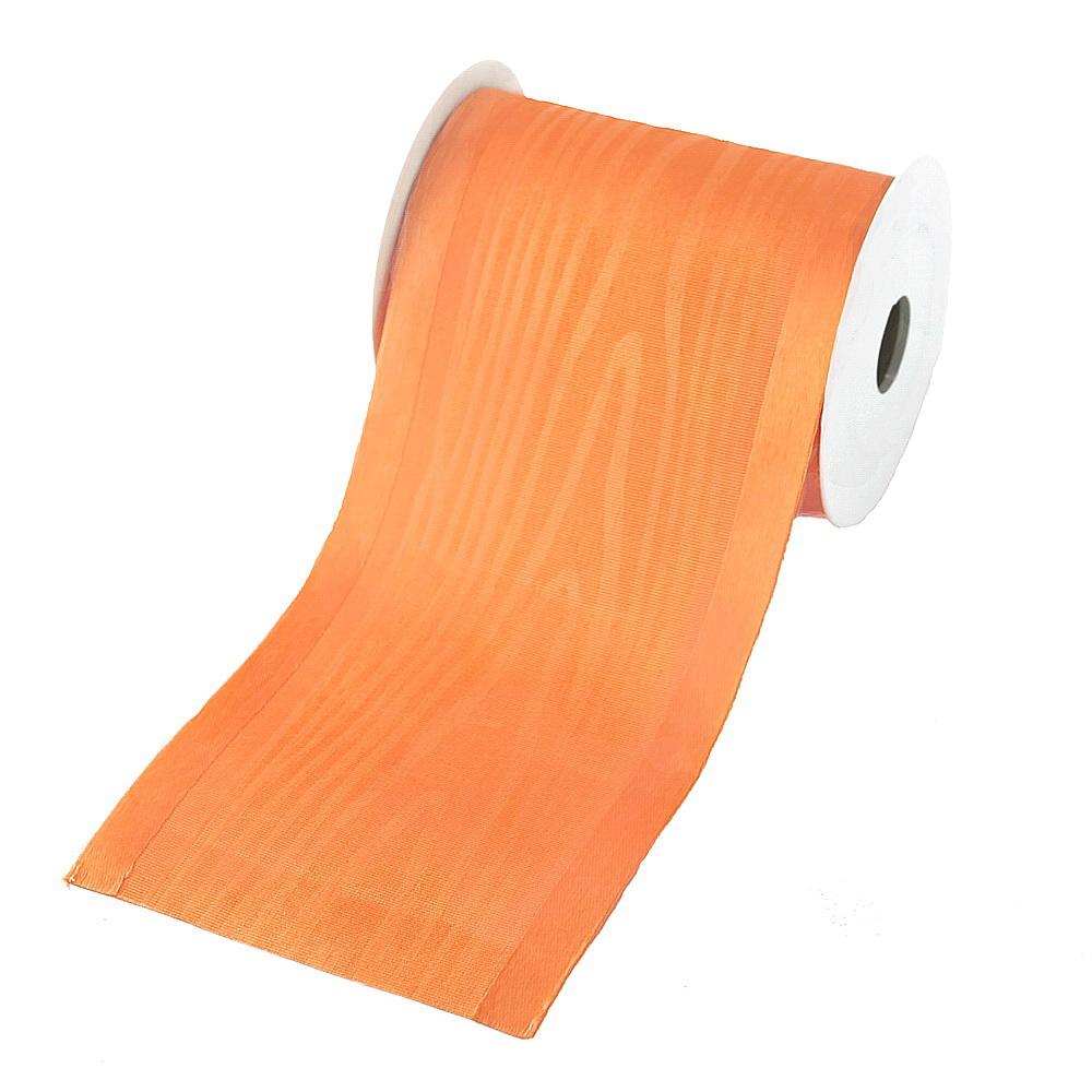 """Tischband Moire mit Satinkante """"Luxury"""", 100mm/ 3 Meter !!! (orange)"""