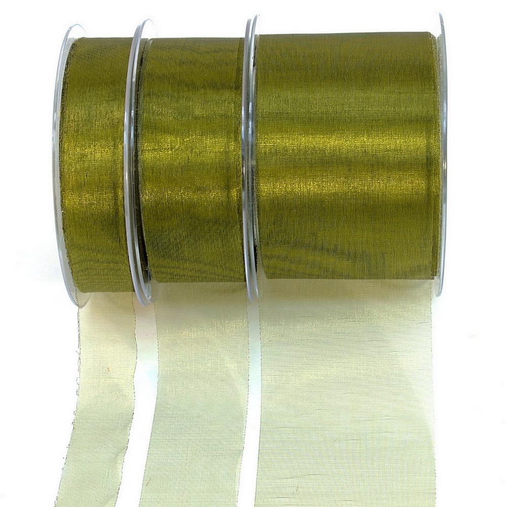 Organza Band oliv 45,7 Meter=50 yard ohne Draht/ 25mm
