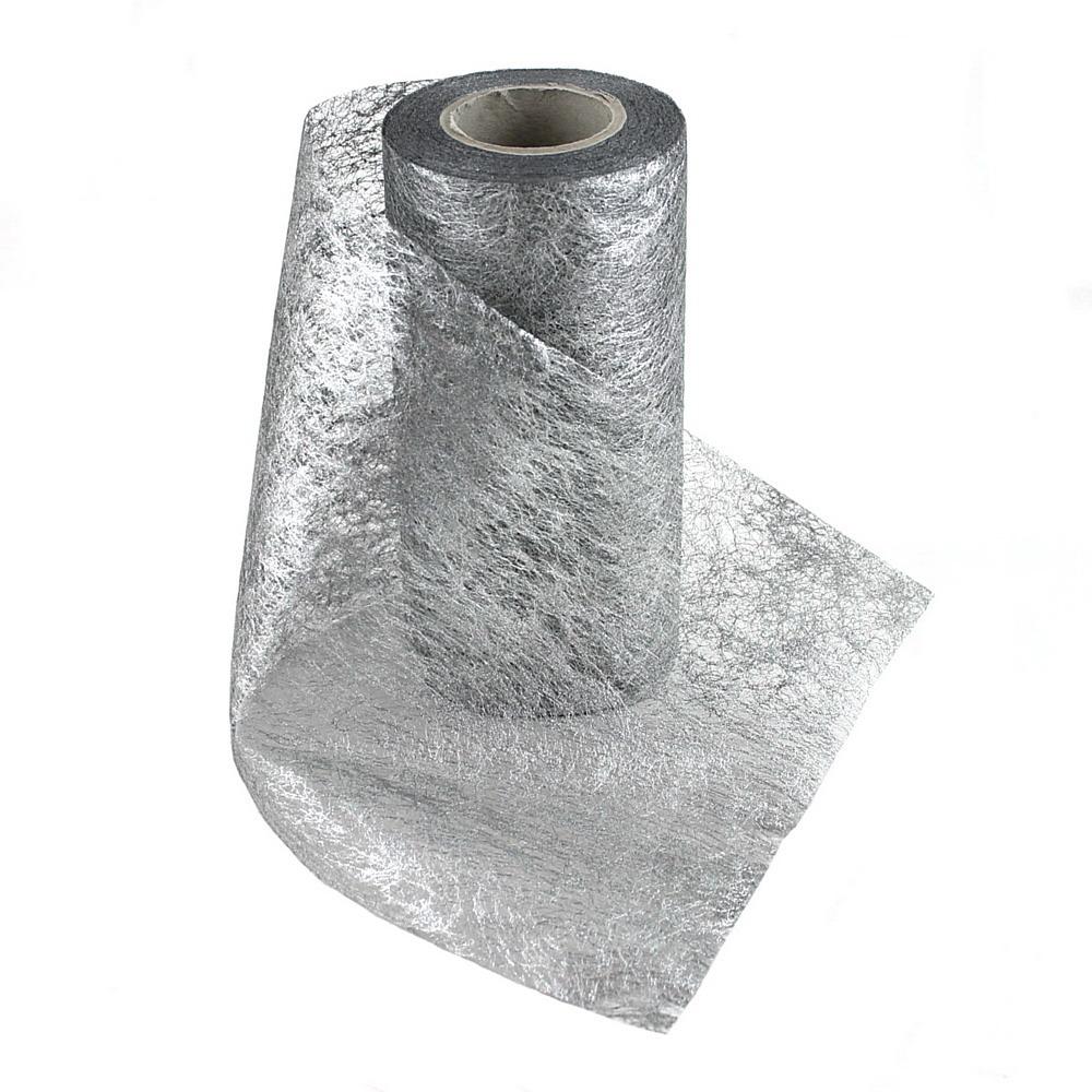 Vlies Band, Tischband 15cm-20 Meter, go / si, Tischläufer / 127 silber