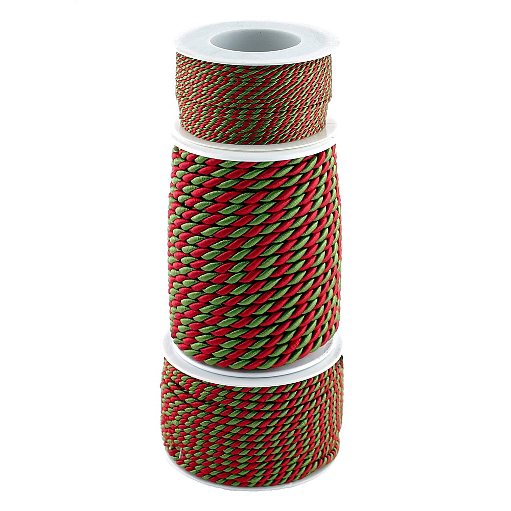 Kordel, 2-farbig gedreht, rot/grün ohne Draht 2-4-6mm, Profispule !!!