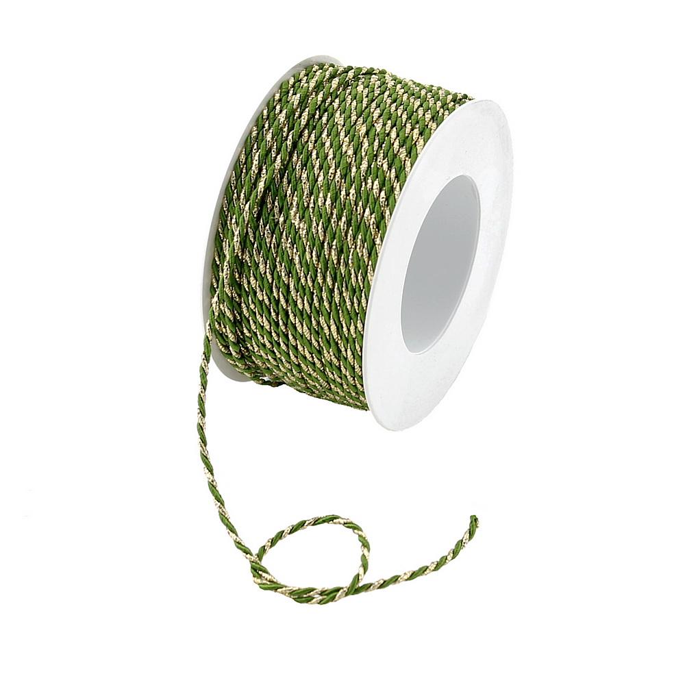 Kordel Ø 2mm/ 50 Met. 2-farbig: 112 grün/gold