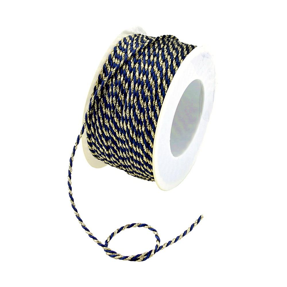 Kordel Ø 2mm/ 50 Met. 2-farbig: 121 d.-blau/gold