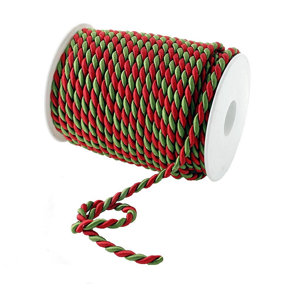 Kordel, 2-farbig gedreht, rot/grün / 6mm/ 25 Meter
