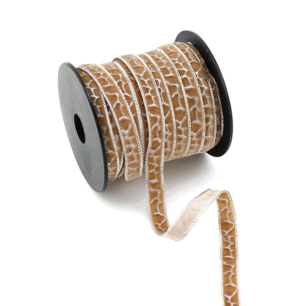 Samtband, Muster Schlangen, 10mm 20 Meter mit silber/ 203 beige-silber