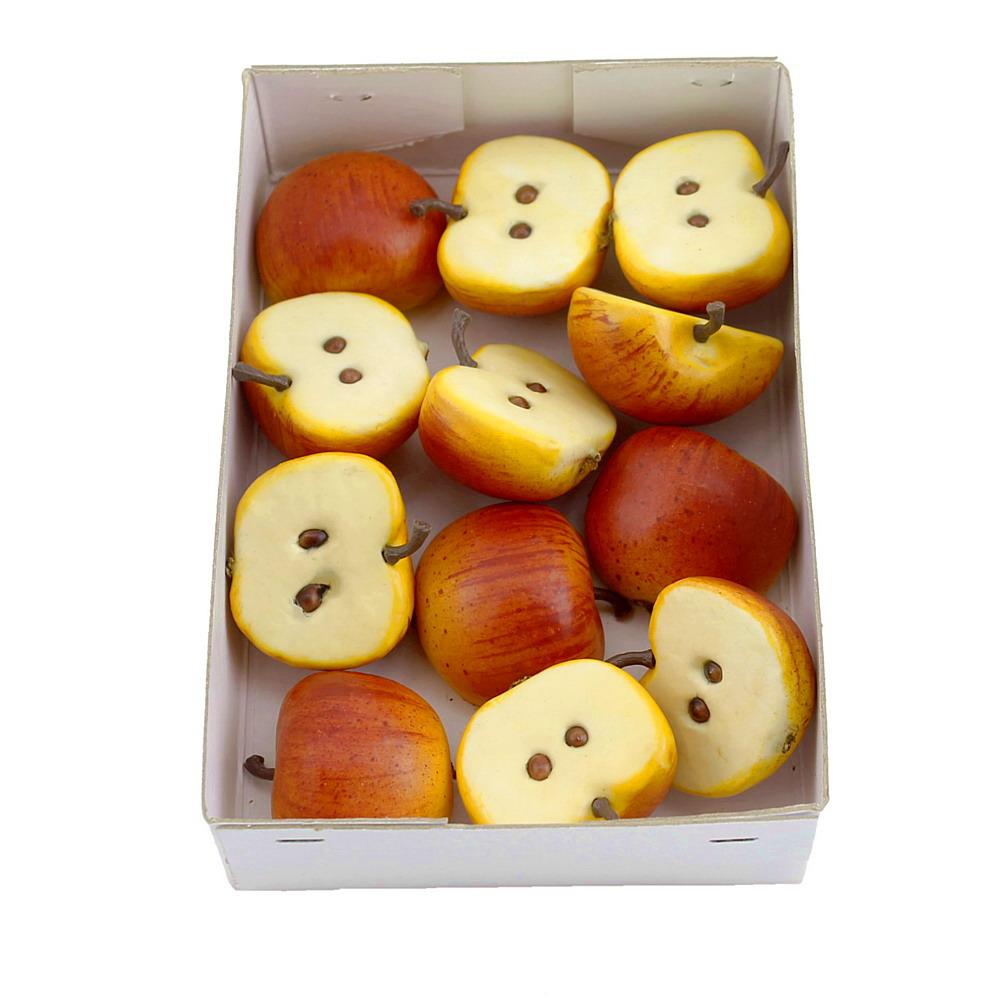 12x Halbe Deko Äpfel 4,5x3,5cm, rot/gelb, künstlich, Früchte, Box !!!