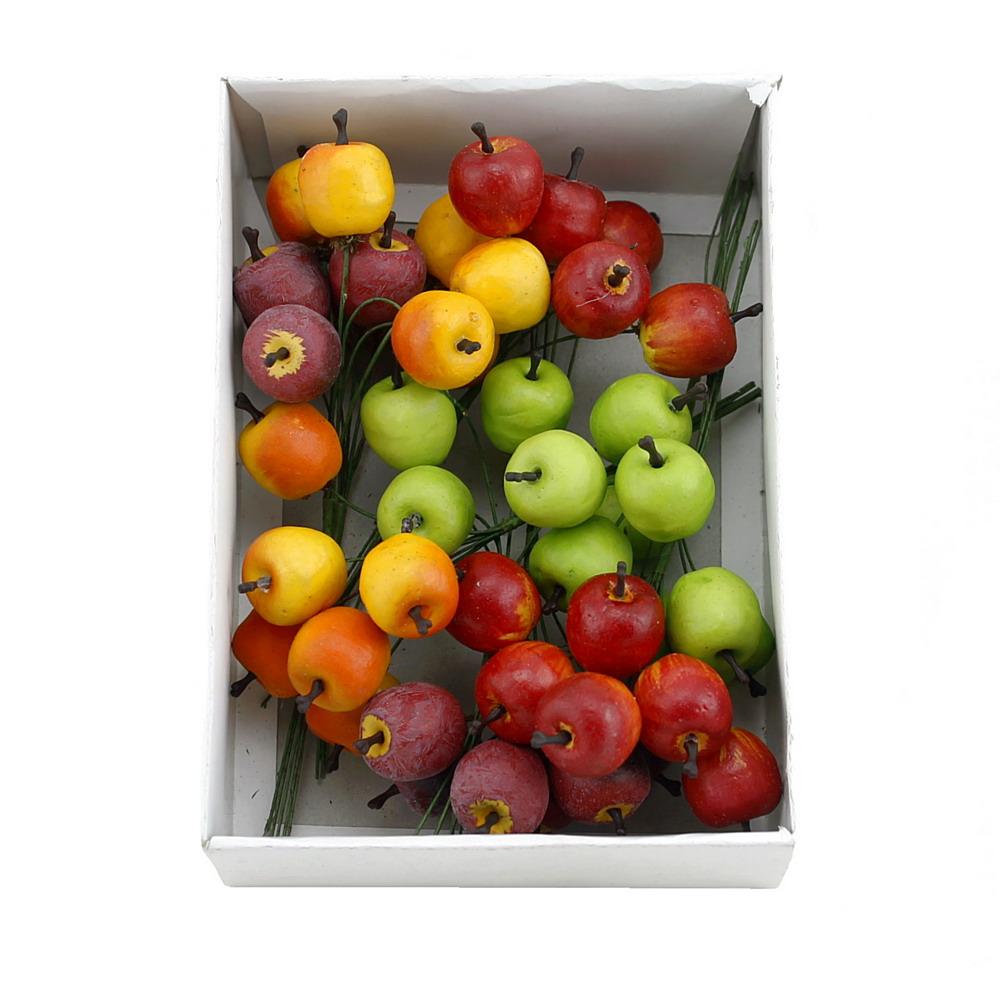 48x Deko Äpfel mini 2cm, 4 Farben sortiert, künstlich, Früchte !!!