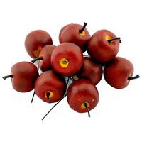12 x Deko Äpfel klein 3,5cm, d.-rot/gelb matt, künstlich, Früchte
