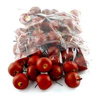 48 x Deko Äpfel klein 3,5cm, d.-rot/gelb matt, künstlich, SPARPACK